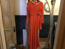 River Island Red party dress long sleeve bling neck maxi knee lenth new tags 10