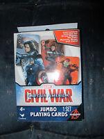 BRAND NEW Deck of Marvel Avengers Captain America Civil War Jumbo Playing Cards