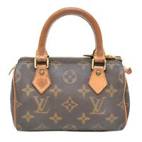 Louis Vuitton Mini Speedy M41534 Monogram Hand Bag Pouch Case Brown Gold France