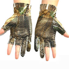 Tactical Camo Hunting Fishing Elastic Antiskid Half Finger Gloves For Summer