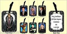 PERSONALISED LUGGAGE TAG WITH STRAP  RETRO MUSIC BON JOVI CLIFF ELVIS BUBLE