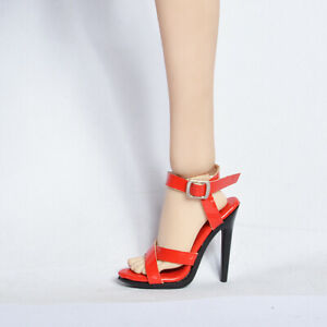 Sandals Shoes for 1/6 Custom figure Female body Phicen Hottoys jiaou doll Red