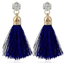 Blue Ink Colour Dangle Golden Glass Stud Earrings with Polyester Tassels # 316