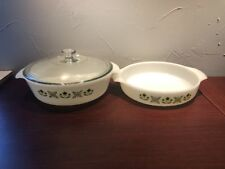 2 -Fire-King Milk Glass Vintage Green Meadow Pattern Casserole Baking Dishes
