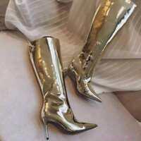 Shiny Metallic Women Pointy Toe Stiletto Mirror Patent Leather Knee High Boots