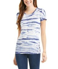Time and Tru Women's Crew Neck Tee Blue Size Large Short Sleeve Semi-fitted