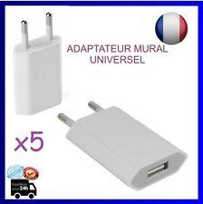 x5 EU Prise secteur USB Chargeur adaptateur universel, BLanc, 1000mA