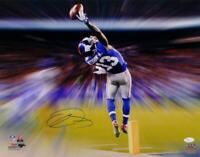 Odell Beckham Autographed NY Giants 16x20 Motion Blast PF Photo- JSA Auth