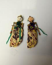 "Vintage Indonesian Wayang Golek Puppet Doll  Wood Rod Stick 6"" lot of 2"
