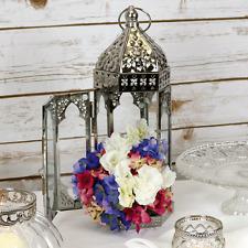Silver Moroccan Table Lantern 42.5 cm Vintage Candle Holder Tea Light Wedding