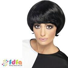 1960s mod court noir élégant bob psychédélique perruque femmes femmes costume robe fantaisie