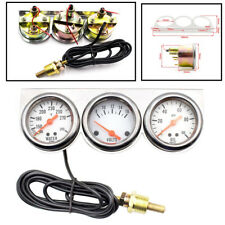 "3In1 2"" 12V Voltmeter Water Temp Oil Pressure Triple Gauge Kit Car Pointer Meter"