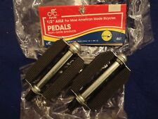 """NEW Black J.T.C.  Pedals 1/2"""" Axle Classic Old School  Bicycle Bike"""