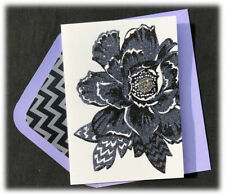 Gorgeous Papyrus Mother's Day card - Rhinestones on Black Glitter Flower Flores
