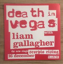 Death In Vegas With Laim Gallagher Promo Poster Ultra Rare