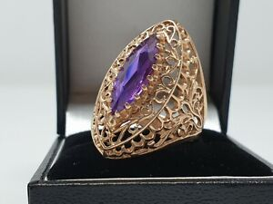 14ct Yellow Gold Amethyst Ring Size R