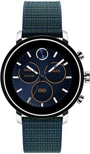 Movado Connect 2.0 Smartwatch Navy Blue Fabric Band Unisex Watch 3660030 42mm