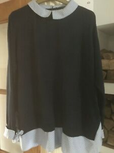 George Peter Pan Collar Mock-neck and ribbon sleeves navy blue Jumper UK Size 22