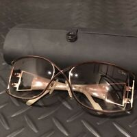 Cazal Eyeglasses Glasses Sunglasses with Case Gold Frame Brown Lenz Used