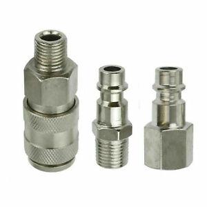 3PCs Air Line Hose Compressor Fittings Connectors Quick Release Male 1/4 BSP