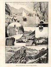 Stampa antica VAL di LARIS RIVA BEZZECCA PONALE Trento Trentino 1884 Old print