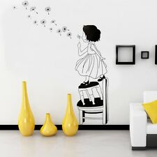 A LITTLE GIRL BLOWING DANDELION Kids Removable Wall Sticker, &  Quote for kids