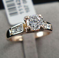 1 Carat Diamond Solitaire with Accents Gold GP Engagement Wedding Ring Size 5-9