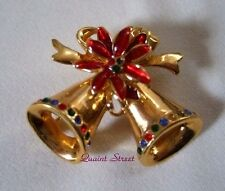 PREMIER DESIGNS Golden Christmas Bells Pin Brooch gold red green crystals FLAW