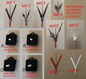 5pz orologio SILENZIOSO parete muro meccanismo ricambio ingranaggio quarzo hobby