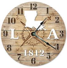 LOUISIANA CLOCK Established in 1812 CLOCK Large 10.5 inch Wall Clock COMPASS MAP