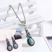 pendentif les boucles d'oreilles turquoise collier + bijoux ensemble crystal