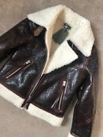 "ALL SAINTS WOMEN'S ""ELDER"" SHEARLING LEATHER BIKER JACKET - SMALL - NEW TAGS"