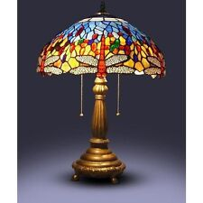 25'' Tiffany Style Red Dragonfly Table Lamp Stained Glass Desk Light Handcrafted