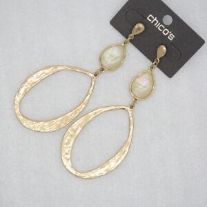 Chico's jewelry matte gold tone large long drop dangle post earrings for women