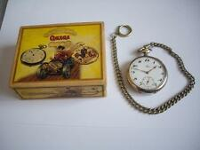 """OMEGA""  Pocket Watch Silver Open Face Swiss Made 2 Adj. positions + box + chain"