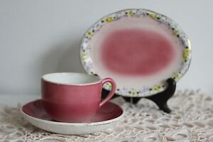 TASSE DINETTE LUNEVILLE dégradé de rose et 1 PLAT Oval Collection POUPEE