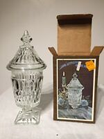 Vintage Indiana Glass Co. Mount Vernon CLEAR Crystal Candy Box w/ Cover