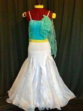 Ballroom Smooth Competition Costume Ladies US size 2-6 Turquoise/White Swarovski