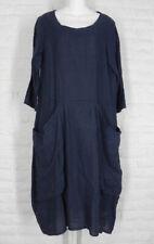 LUCA VANUCCI Dress Tunic Slouch Pockets Linen Gauze Navy NWT Medium