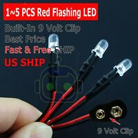 1~5 Lot PRE WIRED 5mm LED 9 VOLT RED FLASHING ON SNAP 9V PREWIRED BLINK FLASHING