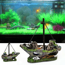 14cm Aquarium Decoration Ornament Sailing Boats Ship Destroyer Fish Tank Decor h