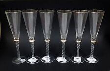 NEW SET OF 6 STIL CHAMPAGNE FLUTE CRYSTAL GLASSES+SILVER+BRAIDED STEM-ROMANIA