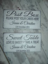 Wedding shabby n chic Post Box & Sweet Table signs  Free Standing Personalised