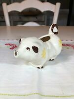 Vintage Art Pottery Pig Creamer, White with Brown and Yellow Accents
