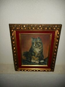 Old oil painting, { Beautiful - lonely kitten, is signed, nice frame! ).
