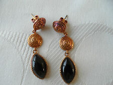 ~GENUINE BLACK ONYX STERLING SILVER EARRINGS WITH YELLOW GOLD PLATING 7.38ct