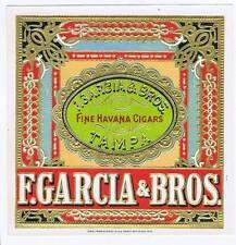 F Garcia & Bros, original outer cigar box label, Tampa