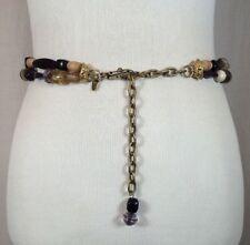 Vintage 80's 90's Women's Beaded Purple Retro Fashion Cinch Belt Size Medium