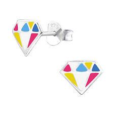 Sterling Silver 925 Multi Coloured Diamond Shape Stud Earrings