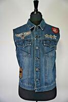 Ring Of Fire Men's Jeans Vest Denim Cotton Blend Blue Size L